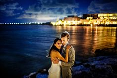 Bride and groom night portraits at the Nizuc Resort, Cancun, Mexico by Juan Euan Photography