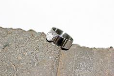 Circle Ring- Stainless Steel with Titanium White Tinted Concrete Ring & Crushed Glass Ring