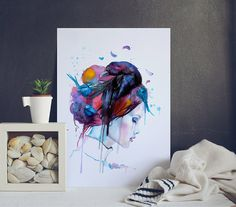 In My Mind Watercolor Painting - Woman Portrait Print - Watercolor Prints - Art Prints - Colorful Painting - Birds