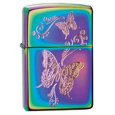 Classic Zippo Lighter featuring a Spectrum finish with Butterflies. This colorful lighter has one small butterfly and one large butterfly engraved on the lighter giving you a peak of spring wherever y