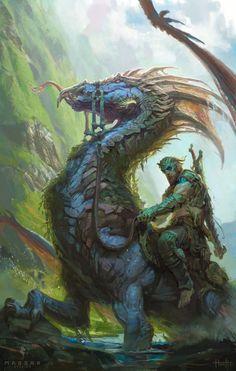 Fantasy Inspiration — spassundspiele: Rider of the Loch by Hunter Schulz Concept Art World, Creature Concept Art, Creature Design, Fantasy Dragon, Fantasy Warrior, High Fantasy, Fantasy World, Fantasy Beasts, Dragon Artwork