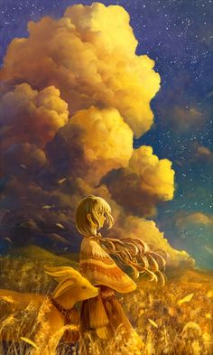 A lovely anime or manga style illustration with gorgeous clouds in the background, and the golden hues which imply sunset or sunrise. M Anime, Anime Kawaii, Anime Art Girl, Manga Art, Fantasy Landscape, Fantasy Art, Anime Artwork, Anime Scenery, Storyboard