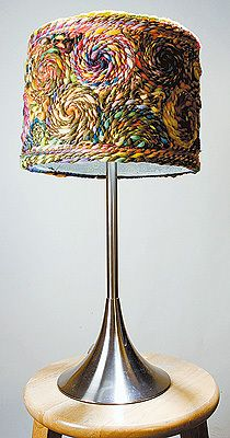 This is cool....yarn mosaic lampshade!