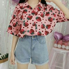 kawaii clothes Pink Kawaii Strawberry Blouse - Material: made of cotton and polyester - Size for reference: Size Shoulder Bust Length Sleeve length One Size Kawaii Fashion, Cute Fashion, Fashion Outfits, 90s Fashion, Retro Fashion, Pastel Fashion, Vintage Fashion, Fashion Trends, Fashion Black