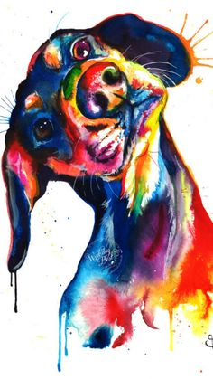 Colorful Dachshund/Wienerdog Watercolor Print - Art Print of my Original Painting #ad