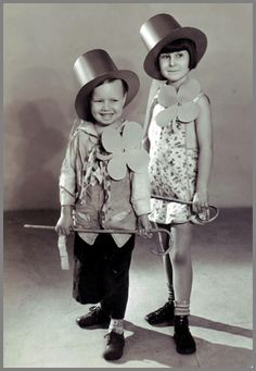 """vintage St. Patrick's Day - Bobby """"Wheezer"""" Hutchins and Mary Ann Jackson from Our Gang ( Little Rascals)"""
