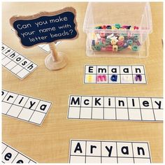 FREE NAME CENTRES! . I always do centres focused on student names the second week of school! The kids love seeing their name and… Kindergarten Name Activities, Kindergarten First Week, Preschool Names, Kindergarten Centers, Preschool Literacy, Language Activities, Kindergarten Classroom, Preschool Activities, Literacy Centers