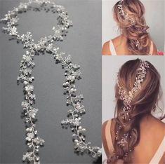 Princess Crystal Headband Wedding Bridal Pearl Long Hair Chain Band Crown Tiara #weddingheadpiececrowntiarahairaccessories
