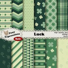 #New Foxy Item! See more at www.FoxyExpressions.com Luck digital paper pack comes in 5 shades of green. Designs include 4 leaf clovers, polka dots, #stripes, #chevron, plaid, diamonds and more.  This pack is great for scrapboo... #new #foxyitem #sale #foxyexpress #green #luck #holiday #irish