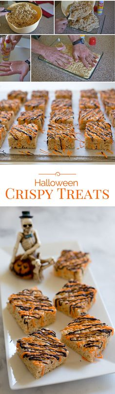 Crispy Treats dressed up with a drizzle of orange and black candy melts are the perfect treat this year for Halloween.