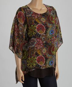 ↪↩ {}{} ↪↩  Another great find on #zulily! Spin Red Abstract Circle Sidetail Top - Plus by Spin #zulilyfinds