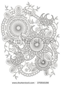 elegant floral coloring page in exquisite line