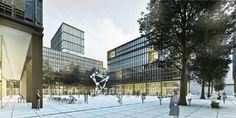 Visualisierungen Projektgebiet - Hauptbahnhof Wien. Das Quartier Belvedere Central in 2 - 3 Jahren. Spa, Multi Story Building, Outdoor, Outdoors, Outdoor Games, The Great Outdoors