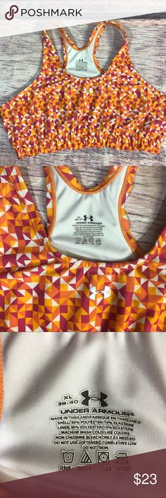 Under Armour sports bra women's xl 38-40 Pink orange  Sports bra Not padded  Good preowned condition Under Armour Intimates & Sleepwear Bras
