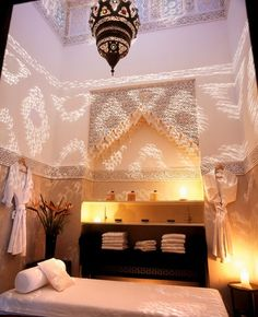 Spa at Riad Dar Les Cigognes - Marrakech, Morocco Spa Interior, Interior Design, Spa Design, Salon Design, Garden Design, Design Marocain, Spa Luxe, Facial Room, Esthetician Room