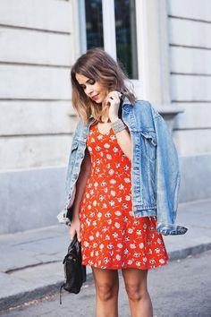 Floral Dress & Denim Jacket