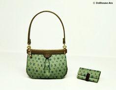 LV Ooak Designer Handbags Bag Purse with Wallet 1/12 Dollhouse Miniatures handmade (L8). $36.00, via Etsy.