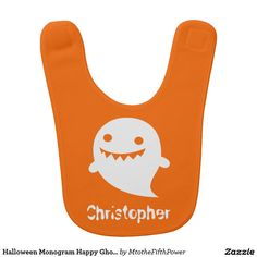 Halloween Monogram Happy Ghost on Orange Bib  by M to the Fifth Power #mtothefifthpower