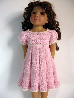 "Ravelry: Pleated Dress 18"" slim doll pattern by Vita"