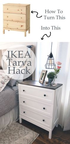 Ikea Tarva Hack - Farmhouse Side Table Dresser - Ikea DIY - The best IKEA hacks all in one place Ikea Tarva Dresser, Dresser As Nightstand, Dresser Furniture, Ikea Bedroom Furniture, Dresser Ideas, Dresser Table, Apartment Furniture, Paint A Dresser, Dresser Designs