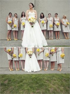 these yellow flowers look so lovely with these bridesmaid dresses and how about the yellow shoes?