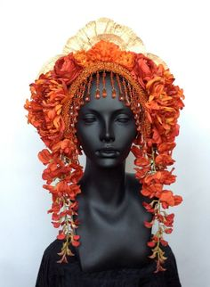 MADE TO ORDER  Flower Headdress with Beaded by MissGDesignsShop, $325.00 see their online store here: https://www.etsy.com/shop/MissGDesignsShop?ref=seller_info: