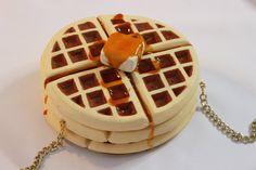 Waffle Purse Bag Clutch Fun Accessoires Waffles by rommydebommy
