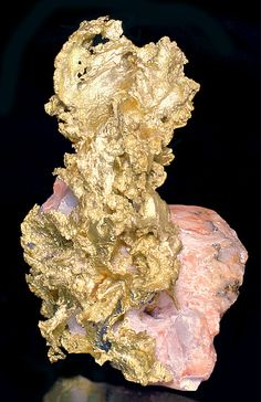 RARE!! Incredibly rich specimen of Native Gold set alongside and rising atop Pink Feldspar!----Click on ad at www.goldshopper.org for free gold or silver! #gold bullion #Bullion #Gold #Silver #Platinum #Palladium #Bullion #GoldCoins #Precious #PreciousMetal #gold nugget #gold nuggets