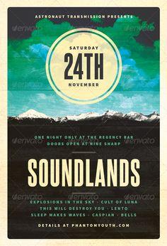 Sound Lands  PostRock Flyer Template — Photoshop PSD #sounds #skyline • Available here → https://graphicriver.net/item/sound-lands-postrock-flyer-template/3313389?ref=pxcr