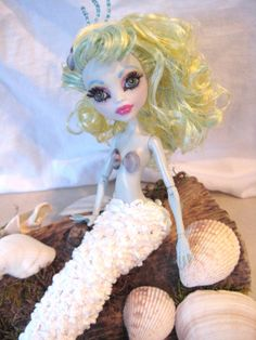Ooak Monster High Custom Lagoona Blue Mermaid Doll by mybarbieart, $70.00