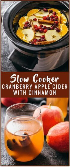 Slow cooker cranberry apple cider with cinnamon - Try your hand at making homemade cranberry apple cider — in a crockpot! This recipe calls for slow cooking fruits such as apples, oranges, and cranberries plus some cinnamon sticks tossed in. Your house will smell great afterwards! - savorytooth.com via @savory_tooth