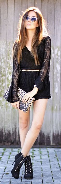 Black Lace Romper Summer Style by Fashion Coolture