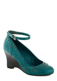 There Will Be Studs Wedge in Turquoise, #ModCloth