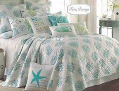 ☆ Key Largo Tropical ☆ King Quilt Aqua Blue Coral Coastal Florida Beach House | eBay