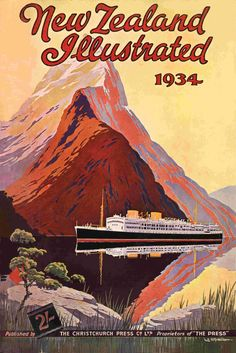 New Zealand Illustrated 1934 Vintage Travel Posters, Vintage Postcards, Vintage Ads, Posters Australia, Art Deco Posters, Retro Posters, New Zealand Art, Tourism Poster, Nz Art