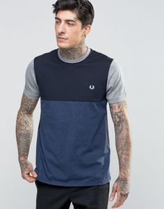Fred Perry T-Shirt With Colour Block In Navy