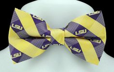 New Louisiana State University Plaid Mens Bow Tie Adjustable College Logo Bowtie #EaglesWingsNFL #BowTie