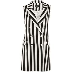 TopShop Humbug Stripe Sleeveless Jacket ($110) ❤ liked on Polyvore featuring outerwear, jackets, topshop, vest, monochrome, print jacket, no sleeve jacket, double breasted jacket, stripe jacket and topshop jackets