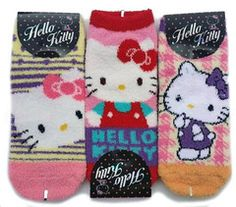 These are Official Sanrio products sold with exclusive distribution rights.This item is sold as a SET and includes 3 pairs - one in each color shown. Fuzzy Slippers, Slipper Socks, Hello Kitty Clothes, Sock Animals, Sanrio Hello Kitty, Designer Socks, Cotton Socks, Ankle Socks, Sock Shoes