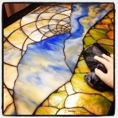 Stained Glass Mosaic Landscape - GROUTING! by Kasia Polkowska Visit Kasia Mosaics on Facebook: https://www.facebook.com/KasiaMosaics