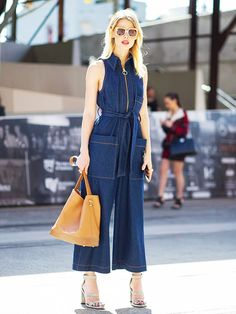 Denim jumpsuit and strappy sandals