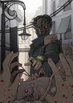 Dishonored 2, Corvo using Devouring Swarm by TamsRandomArt (@TamsRandomArt on Twitter)