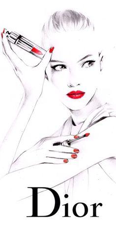Ilustración de moda para la promoción de productos de artículos de lujo.