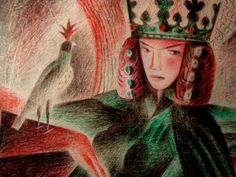 """""""Guinevere"""" by Clive Hicks-Jenkins. Detail of a study for his forthcoming 'Christmas at Camelot' screenprint"""