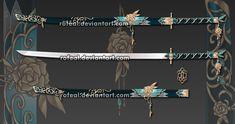WeaponCustom by Rofeal on DeviantArt Samurai Weapons, Ninja Weapons, Katana Swords, Anime Weapons, Fantasy Sword, Fantasy Weapons, Fantasy Art, Espada Anime, Armas Ninja