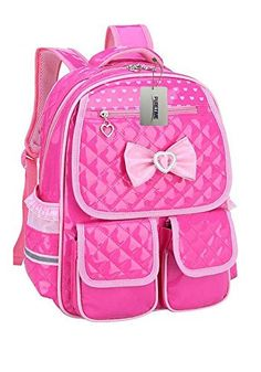 Puretime Girls Cute Pu Leather School Backpack Satchel Travel Bag Princess  Style Rose pink    08a21fdd06885