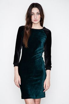 Jonathan Simkhai Fitted L/S Velour Dress, $325, available at Arcimony.