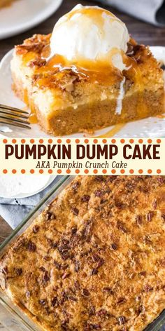 This delicious Pumpkin Dump Cake has a layer of velvety smooth pumpkin pie on the bottom and a buttery topping made with cake mix and crunchy pecans. Filled with fall flavors and ridiculously easy to make – it's the perfect Thanksgiving dessert Pumpkin Crunch Cake, Pumpkin Pie Mix, Pumpkin Pudding, Pumpkin Dessert, Pumpkin Pie Filling Recipe Easy, Thanksgiving Desserts Easy, Easy Desserts, Thanksgiving 2020, Health Desserts