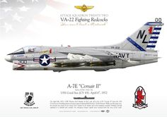 """UNITED STATES NAVY ATTACK SQUADRON TWENTY TWO (VA-22) """"Fighting Redcocks""""USS Coral Sea (CV 43). Flown by CDR Thomas Earl Dunlop (CAG) was hot down over North Vietnam on April 6th, 1972"""