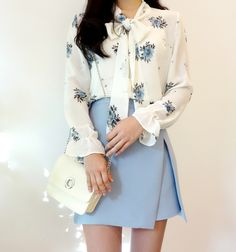[Mixxmix] Floral Print Self-Tie Ribbon Blouse Korean Fashion Street Casual, Korean Fashion Dress, Ulzzang Fashion, Korean Outfits, Korean Blouse, Asian Fashion, Skirt Fashion, Fashion Dresses, Teen Fashion Outfits
